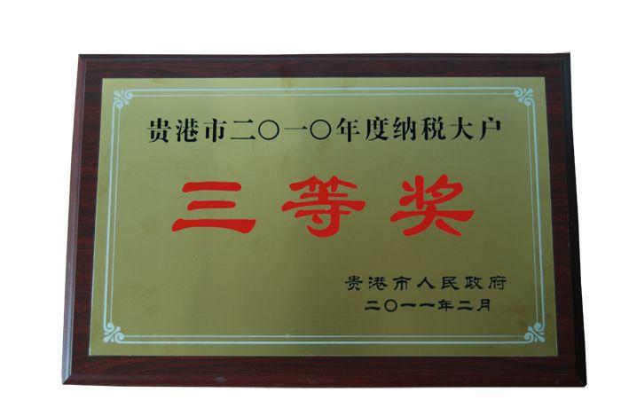 2010年纳税大户三等奖